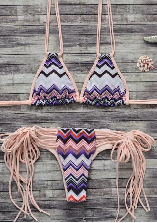 Zigzag Strappy Sexy Bikini Set