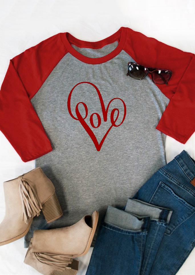 Heart Love Baseball T-Shirt - Fairyseason