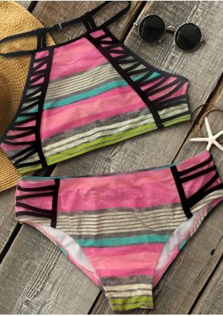 Multicolor Strappy Sexy Bikini Set