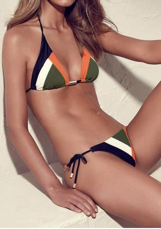 Color Block Halter String Bikini Set Color