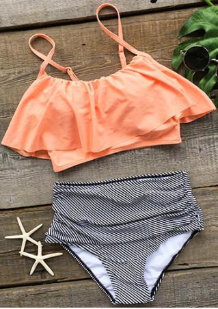 Flouncing Layered Bikini Set