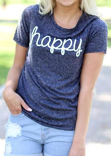 Tricou de damă, casual, din poliester, cu imprimeu grafic, mâneci scurte și guler rotund
