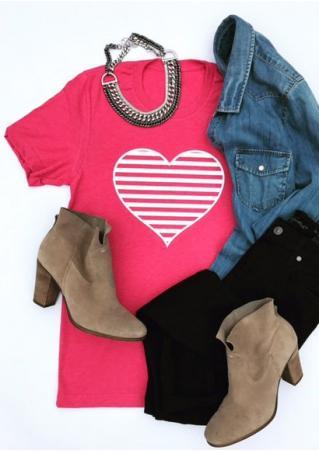 Striped Heart Short Sleeve T-Shirt