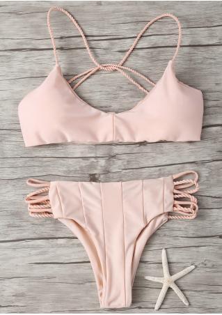 Solid Strappy Bikini Set Solid
