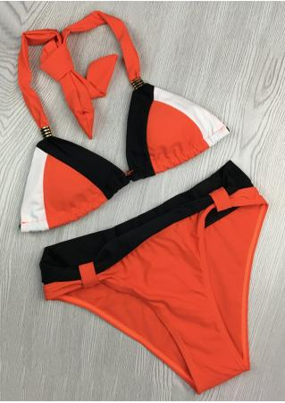 Color Block Metal Halter Bikini Set Color