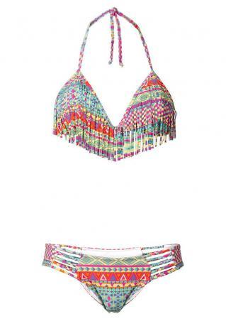 Geometric Tassel Halter Bikini Set