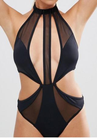 Solid Mesh Hollow out Swimsuit