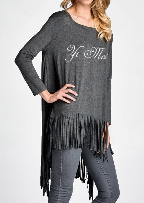 Bluză de damă, fashion, asimetrică, mâneci 3/4 și tiv cu franjuri