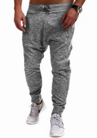 Solid Drawstring Pocket Hip Hop Pants