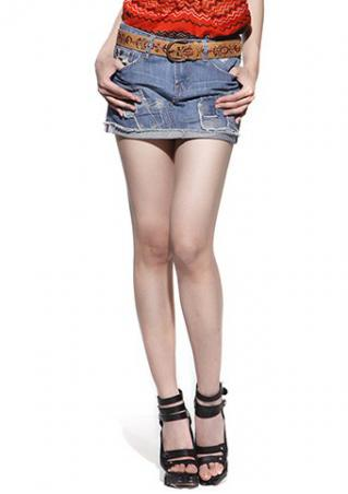 PETITE Denim Splicing Mini Skirt without Belt