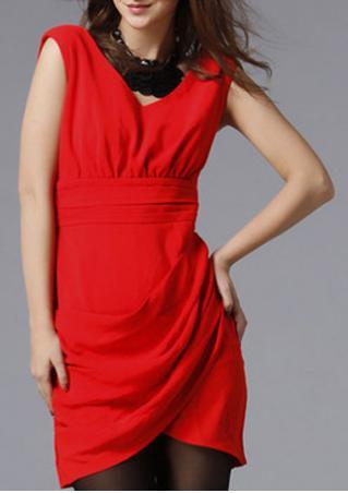 PETITE Solid Ruched Mini Dress