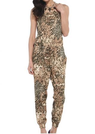 PETITE Printed Pocket Jumpsuit without Necklace