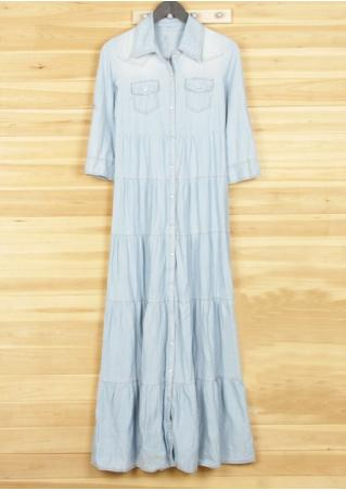 PETITE Washed Button Ruffled Pocket Maxi Dress