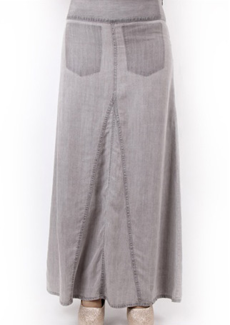 Fustă lungă, elegantă, casual, din poliester, cu talie înaltă și buzunare la spate