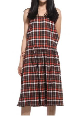 PETITE Plaid Off Shoulder Casual Dress