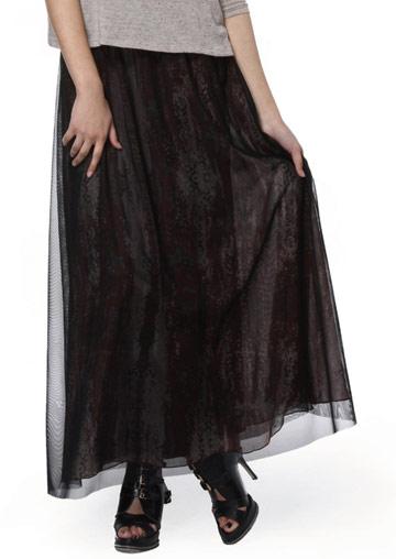 Fustă lungă, elegantă, fashion, plisată, din poliester, cu inserții mesh și talie înaltă