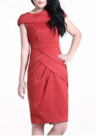 PETITE Solid Draped Dress