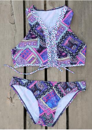Printed Lace Up Bikini Set