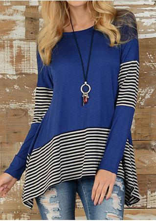 Striped Splicing Asymmetric Blouse without Necklace