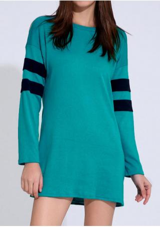 Striped Detail Sleeve Casual Dress
