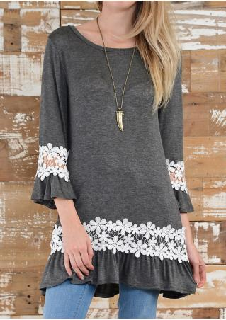 Lace Splicing Casual Blouse without Necklace