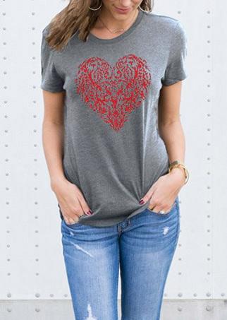 Tricou de damă, fashion, slim fit, cu mâneci scurte și imprimeu frontal