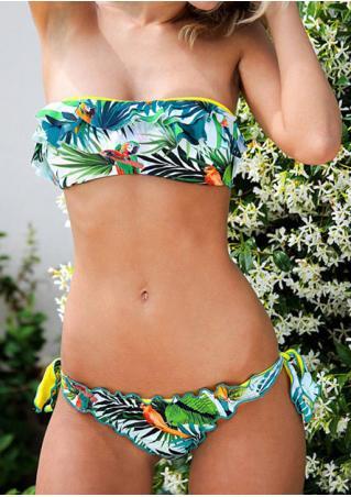 Bird Leaf Layered Flouncing Bikini Set Bird