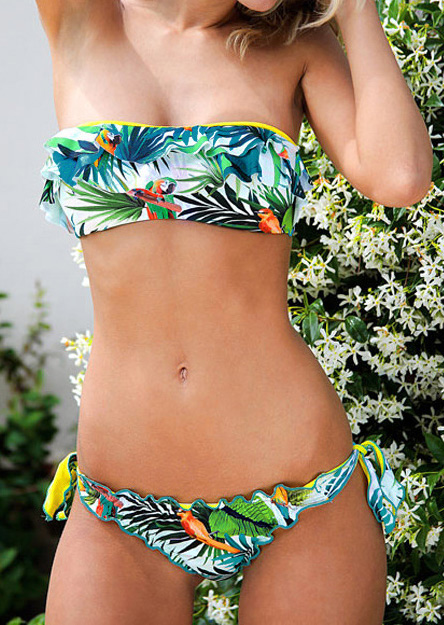 Set bikini, fashion, slim fit, din poliester, cu imprimeu multicolor