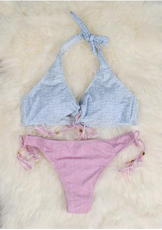 Lace Up Halter Bikini Set Lace