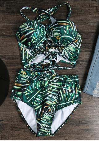 Leaf Lace Up Bikini Set Leaf
