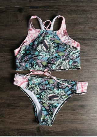 Contrast Lace Up Bikini Set Contrast