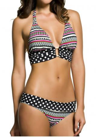 Geometric Polka Dot Halter Bikini Set Geometric