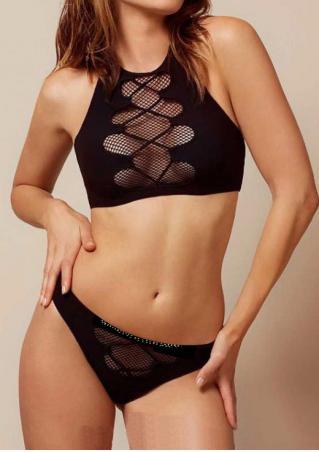 Solid Mesh Halter Bikini Set Solid