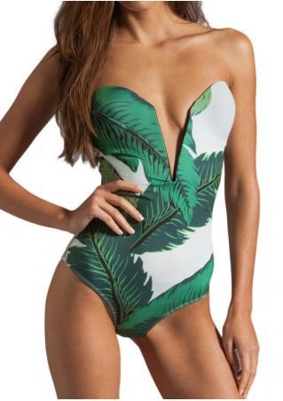 Leaf Plunge Sexy Swimsuit Leaf