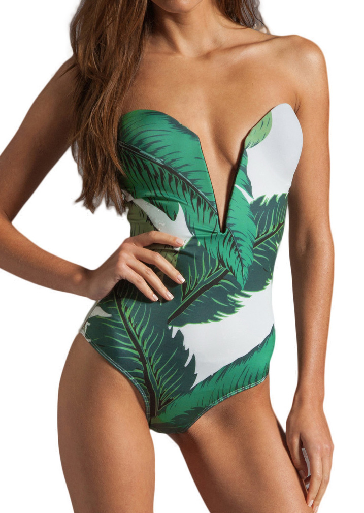 leaf plunge sexy swimsuit