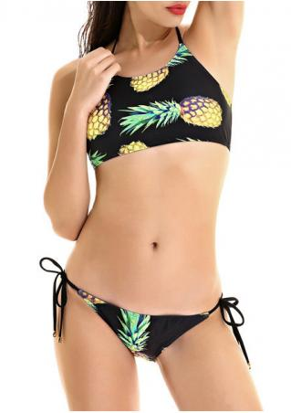 Pineapple Halter Bikini Set Pineapple