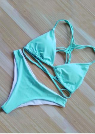Solid Sennit Strap Bikini Set Solid