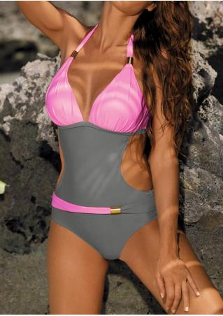Color Block Metallic Ornament Swimsuit Color