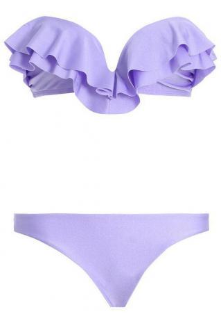Solid Ruffled Bikini Set Solid