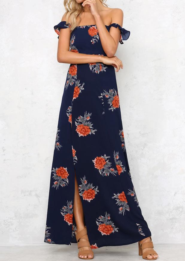 Rochie lungă, fashion, cu imprimeu floral, mâneci scurte, fără bretele, cu umerii goi
