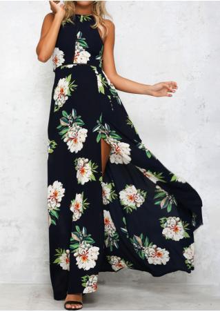 Floral Hollow Out High Split Maxi Dress