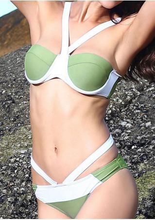 Color Block Bikini Set Color