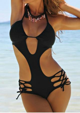 Solid Hollow Out Swimsuit without Necklace