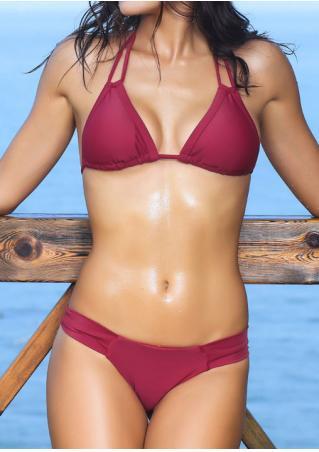 Solid Halter Bikini Set Solid