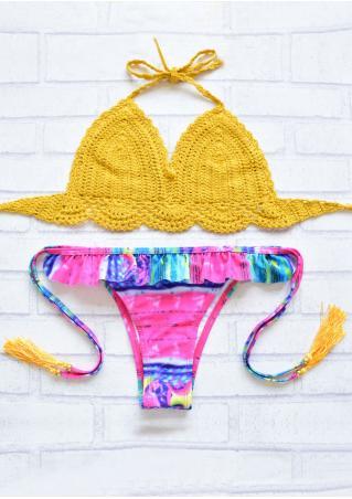 Tassel String Layered Flouncing Knitted Bikini Set Tassel