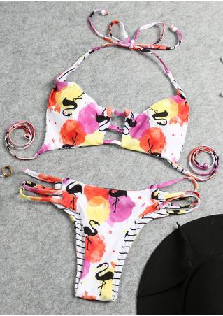 Printed Hollow out Halter Bikini Set Printed