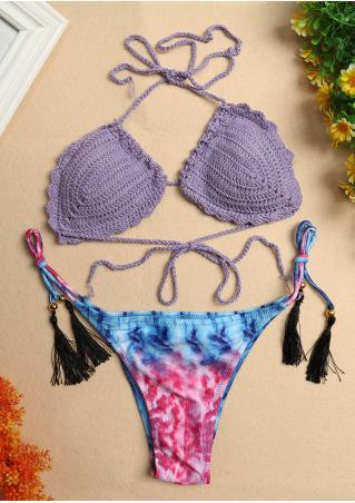 Tassel Halter String Knitted Bikini Set Tassel