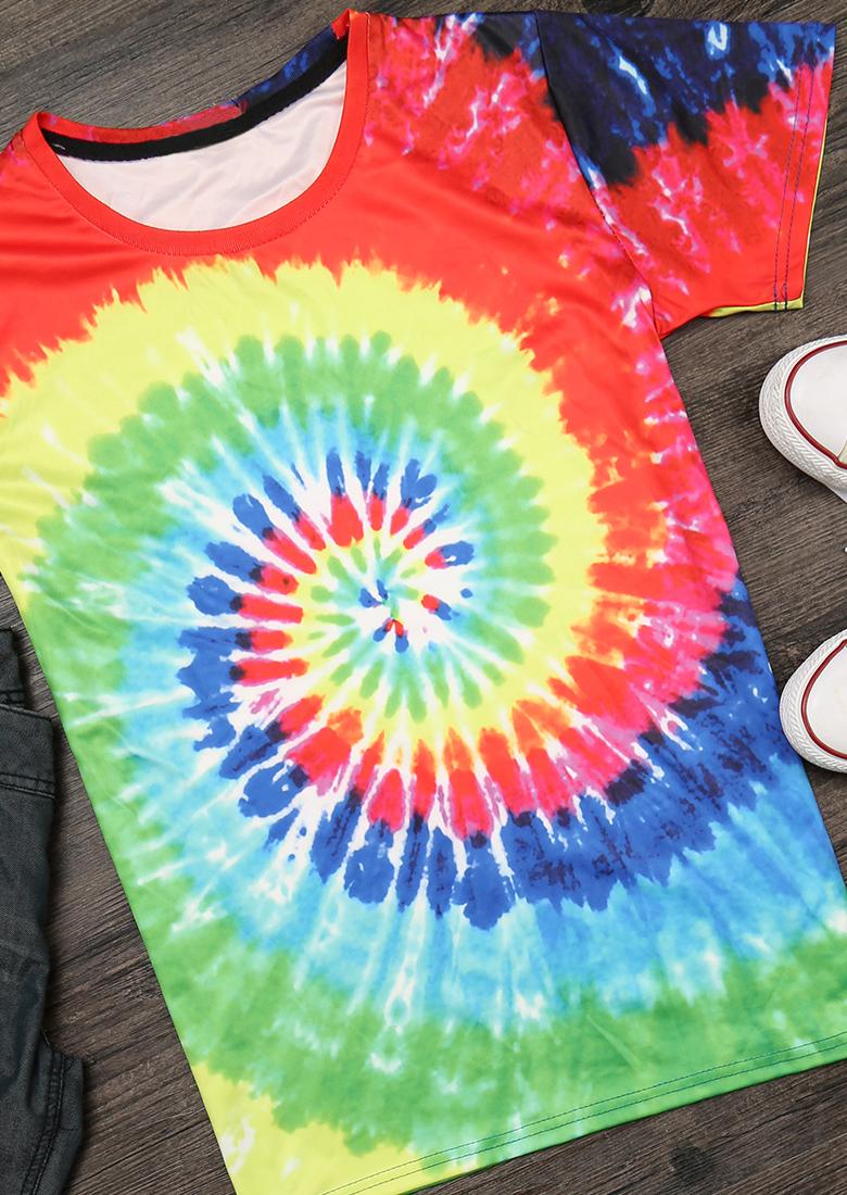 Tricou de damă, casual, slim fit, din poliester, cu imprimeu multicolor