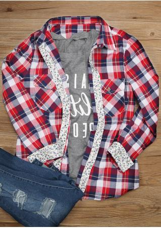 Plaid Floral Splicing Shirt
