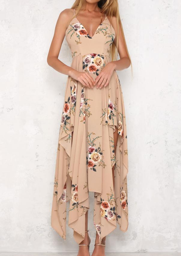 Rochie lungă, elegantă, fashion, din poliester, cu imprimeu floral, fără mâneci și tiv asimetric
